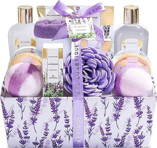 Spa Luxetique Coffret de Bain et de Soins, 12 Pièces, Parfum de Lavande, Lotion pour le Corps, Boules de Bain, Idée C...