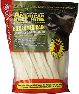 Canine Chews Premium American Beef Hide Natural Rawhide 20 Pack 10 Inches