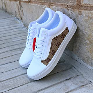 bda85022e Vans White Old Skool x GG Pattern Custom Handmade Uni-Sex Shoes By Patch  Collection