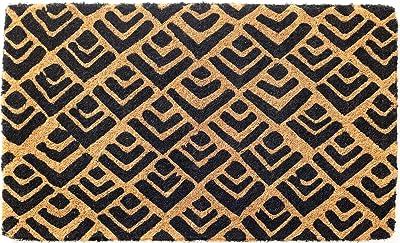 Fab Habitat Block Print 100% Coir Doormat, 75 cm Length x 45 cm Width