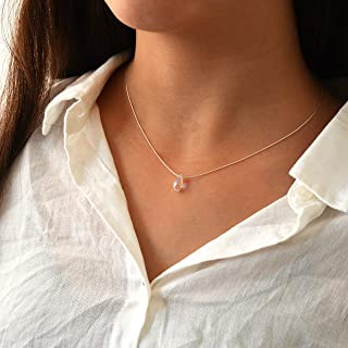 Swarovski Crystal Teardrop Sterling Silver Necklace Minimalist Stunning Jewelry 16 inches+extension Birthstone Birthday Gift for Women Girls