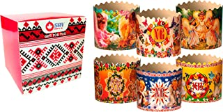 Easter Bread Ukrainian Baking Paper Round Molds Forms Kulich Cake Panettone Muffins Gift Pack Bakeware Set of 6 (Big size, Mix)