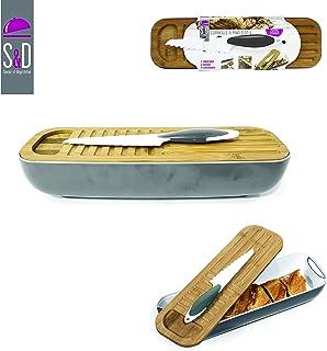 Saveur et Degustation - Tabla para Cortar el Pan con Bandeja para Las Migas/Cuchillo ABS/bambú, Gris, 40 x 12 x 8,50 cm