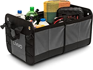 LIVIVO Premium Folding Boot Organiser Large Heavy Duty Compartment Folding Collapsible Car Van Vehicle Shopping Tidy Storage Case with Solid Non Slip Base  Side Pockets and Carry Handles