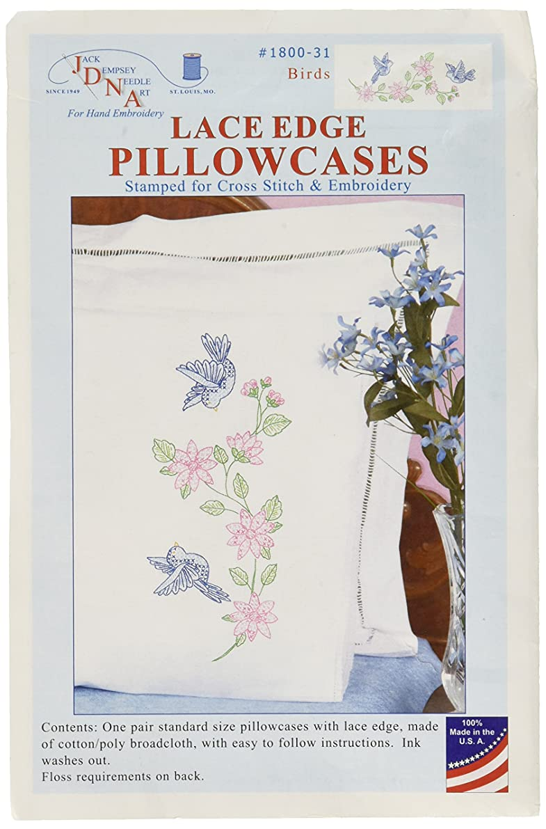 Jack Dempsey Stamped Pillowcases with White Lace Edge, Birds, 2-Pack