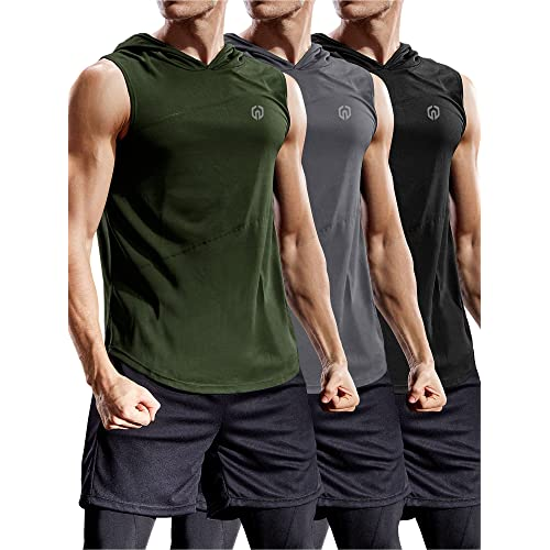 6e3aff8e1337fd Neleus Workout Athletic Muscle Tank Hoods Pack of 3