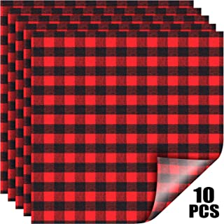 Christmas Buffalo Plaid Vinyl Fabric Check Vinyl Sheets Adhesive Heat Transfer Sheets Iron on Vinyl Patches for Clothes, 10 Sheets 12 x 12 Inch(Red and Black Plaid)