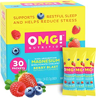 OMG! Nutrition Magnesium Glycinate Chelate Drink Mix | Supplement for Stress Relief and Better Sleep – Tast...