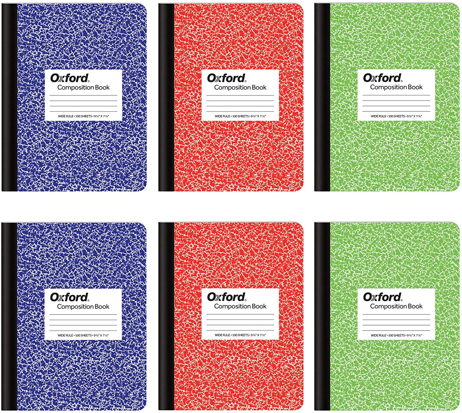 Oxford Composition Notebook 6 Pack, Wide Ruled Paper, 9-3/4 x 7-1/2 Inches, 100 Sheets, Assorted Marble Covers, 2 Each: Blue, Green, Red (63762)