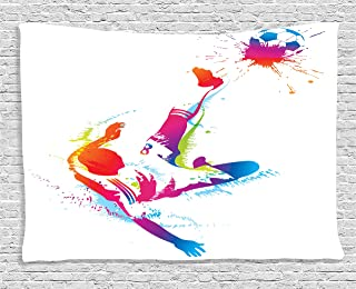 Ambesonne Soccer Tapestry, Soccer Man Kicks The Ball in The Air Watercolors Success Energy Feet Illustration, Wide Wall Hanging for Bedroom Living Room Dorm, 80