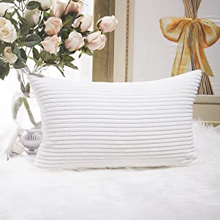 Home Brilliant Oblong Pillow Decorative Striped Corduroy Rectangle Cushion Cover Oblong Pillow Cover for Couch, 12 x 20 Inch, Pure White