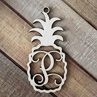 Monogram Pineapple Christmas Ornament - Laser Cut Natural Wood Christmas Ornament - Personalized Holiday Ornament - Pineapple Ornament