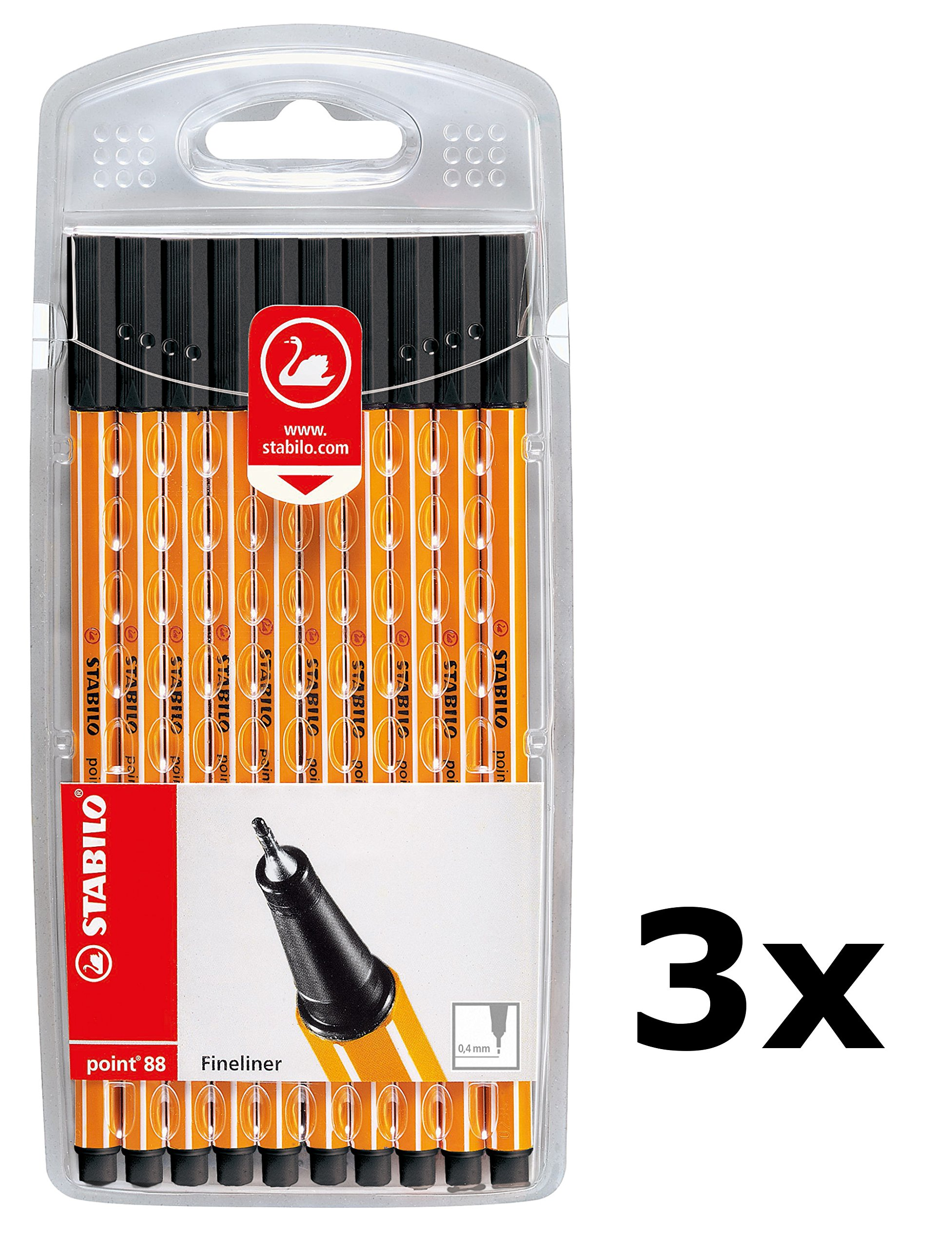 Fineliner STABILO point 88 (3 x 10 Pack) (Negro): Amazon.es ...