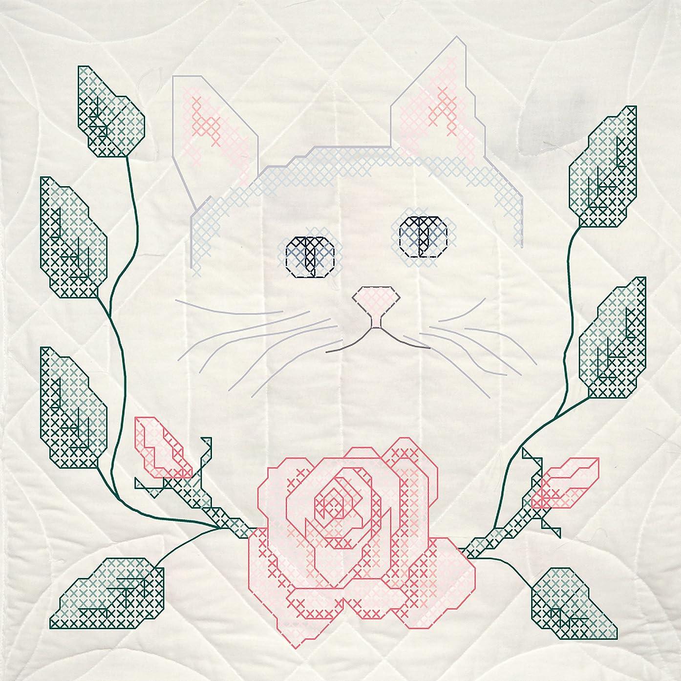 Fairway Needlecraft 90205Quilt Blocks, Cat and Rose Design, White, 6 Blocks Per Set