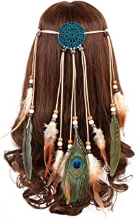 Peacock Feather Headband Bohemian – Hippie Gypsy Indian Hairband with Feather Tassel for Hair Accessories, Festival Masquerades, Vocation, Party (Blue dreamcatcher two long feather headband)