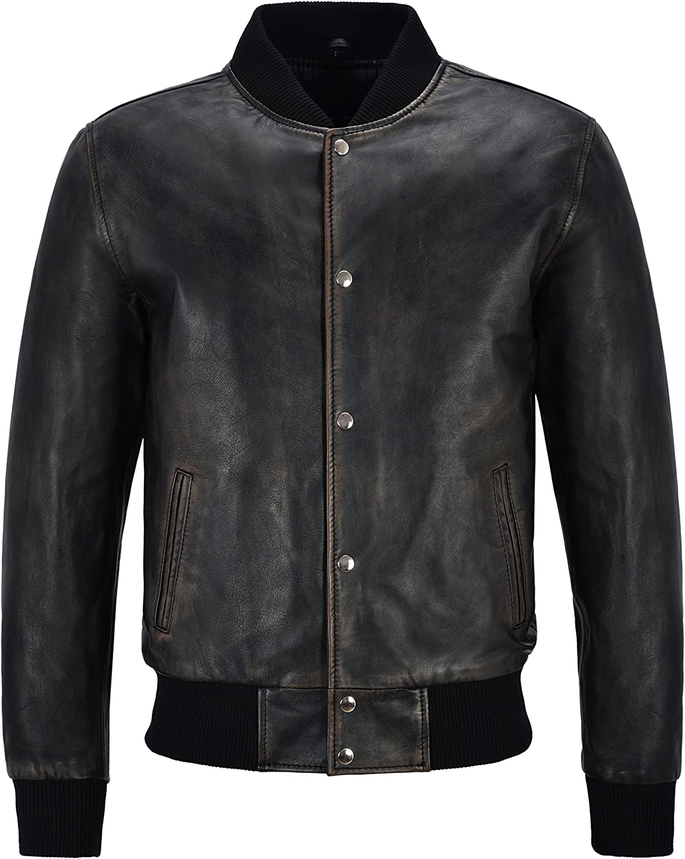 Men's Varsity Leather Jacket Black Bronze Classic Bomber Style 100% Real Leather