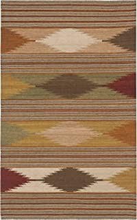 Safavieh Navajo Kilim Collection NVK175A Hand Woven Natural and Multi Wool Area Rug (3' x 5')