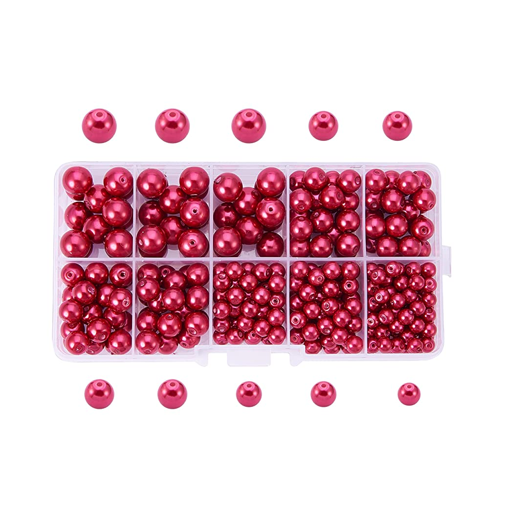 PandaHall Elite Crimson Glass Pearl Round Beads 4mm 6mm 8mm 10mm Various Size Mix Lot Box Set with Container Value Pack (about 340 pcs Box Set)