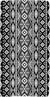 Asdecmoly Swimming Towel Cloth Quick-Drying Bath Towel 30X60 Inch Black White Striped Pattern Ethnic Tribal Motifs Cute by Outdoor Beach Towel Travel Camping Spa Blanket