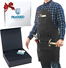 Rugged Tools Work Apron – Heavy Duty Canvas Shop Apron with Tool Pockets for Men,..