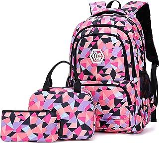 VIDOSCLA 3Pcs Geometric Prints Primary School Student Satchel Backpack Elementary Boys Book Bag School Rucksack for Kids w...