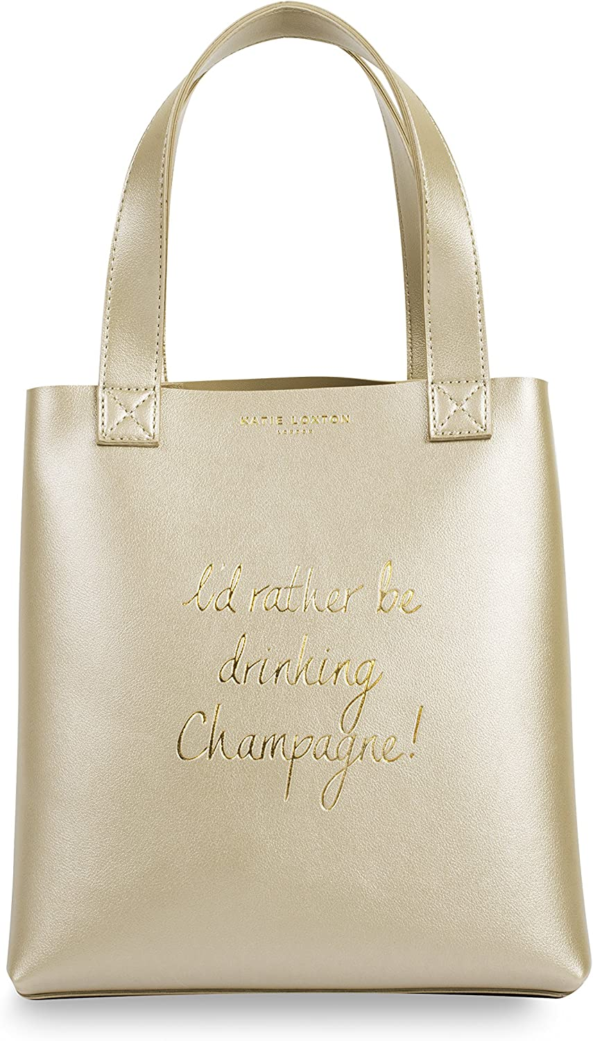 Katie Loxton - LUNCH BAG - I''D RATHER BE DRINKING CHAMPAGNE - gold - 25x23.5x12.5cm