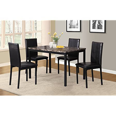 Roundhill Furniture 5 Piece Citico Metal Dinette Set with Laminated Faux Marble Top - Black