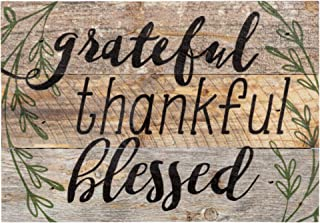 P. Graham Dunn Grateful, Thankful, Blessed Black Lettering with Greenery 5 x 7 Small Wood Plank Design Plaque Sign