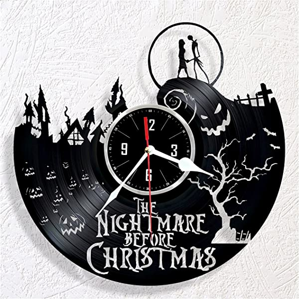 HMGift Nightmare Before Christmas Vinyl Wall Clock Great Gift For Birthday Anniversary Or Any Other Occasion Beautiful Home Decor Unique Design That Made Out Of Retro Vinyl Record