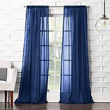 "No. 918 Tayla Crushed Texture Semi-Sheer Rod Pocket Curtain Panel, 50"" x 95"", Indigo"
