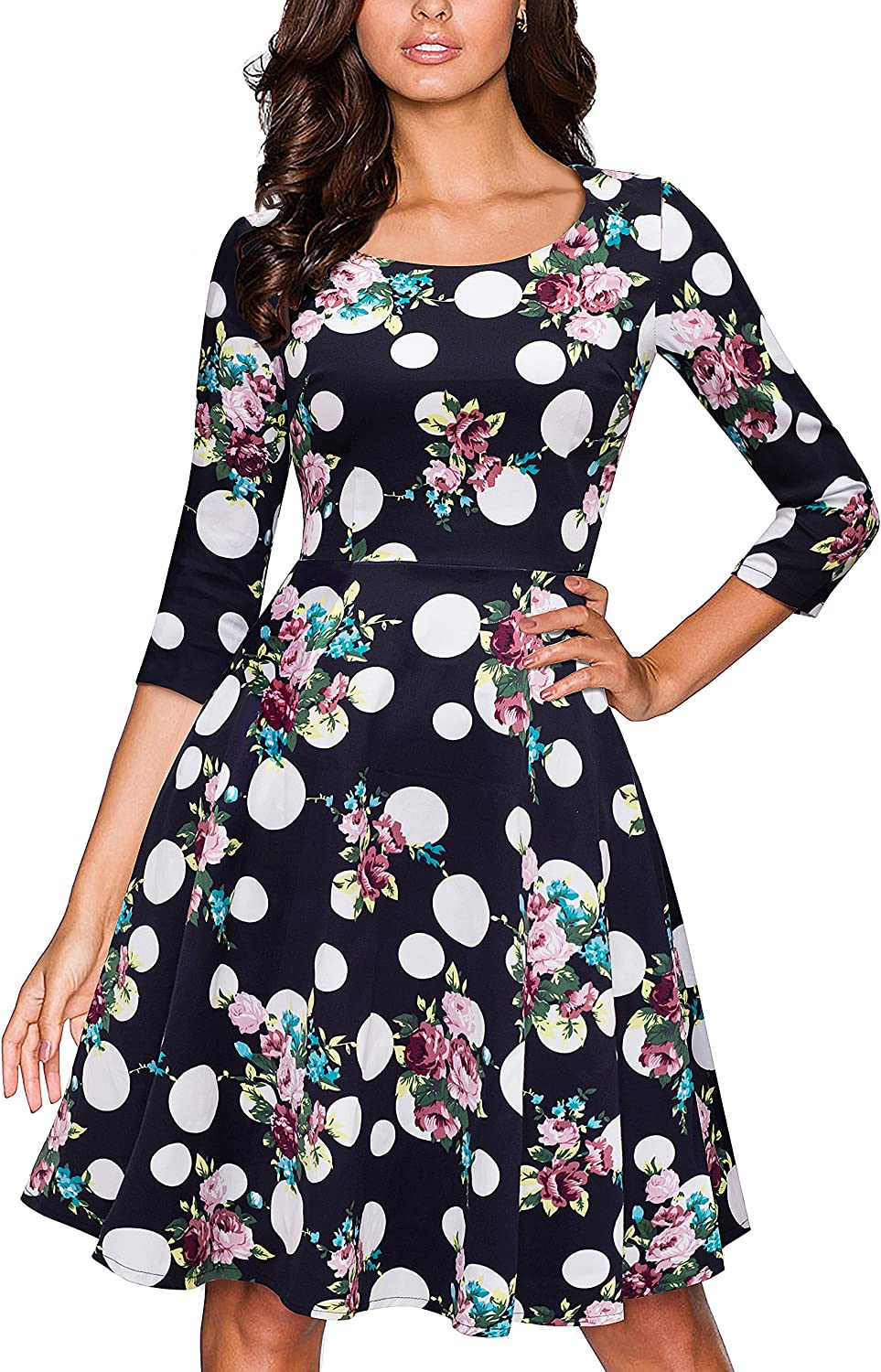 VELJIE Women's Retro 1950s Style 3/4 Sleeve Floral Print Flare A-line Dress