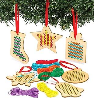 Baker Ross Kreuzstich-Set, Weihnachtsdekoration, Holz, ideal für Kinderkunst- und Bastelarbeiten, Geschenke, Andenken und mehr 6 Stück