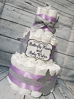Butterfly Kisses Baby Wishes Theme Purple Gold or Silver - 3 Tier - Baby Shower Gift