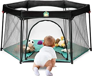 Portable Playard Play Pen for Infants and Babies - Lightweight Mesh Baby Playpen with Carrying Case - Easily Opens with 1 ...