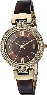 Anne Klein - Reloj de pulsera para mujer con cristales Swarovski acentuados en tono dorado y resina tortuga