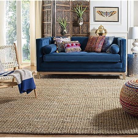 Natural Fiber Collection Alfombra de yute natural tejida a mano, tejido de esterilla, para decoración del hogar