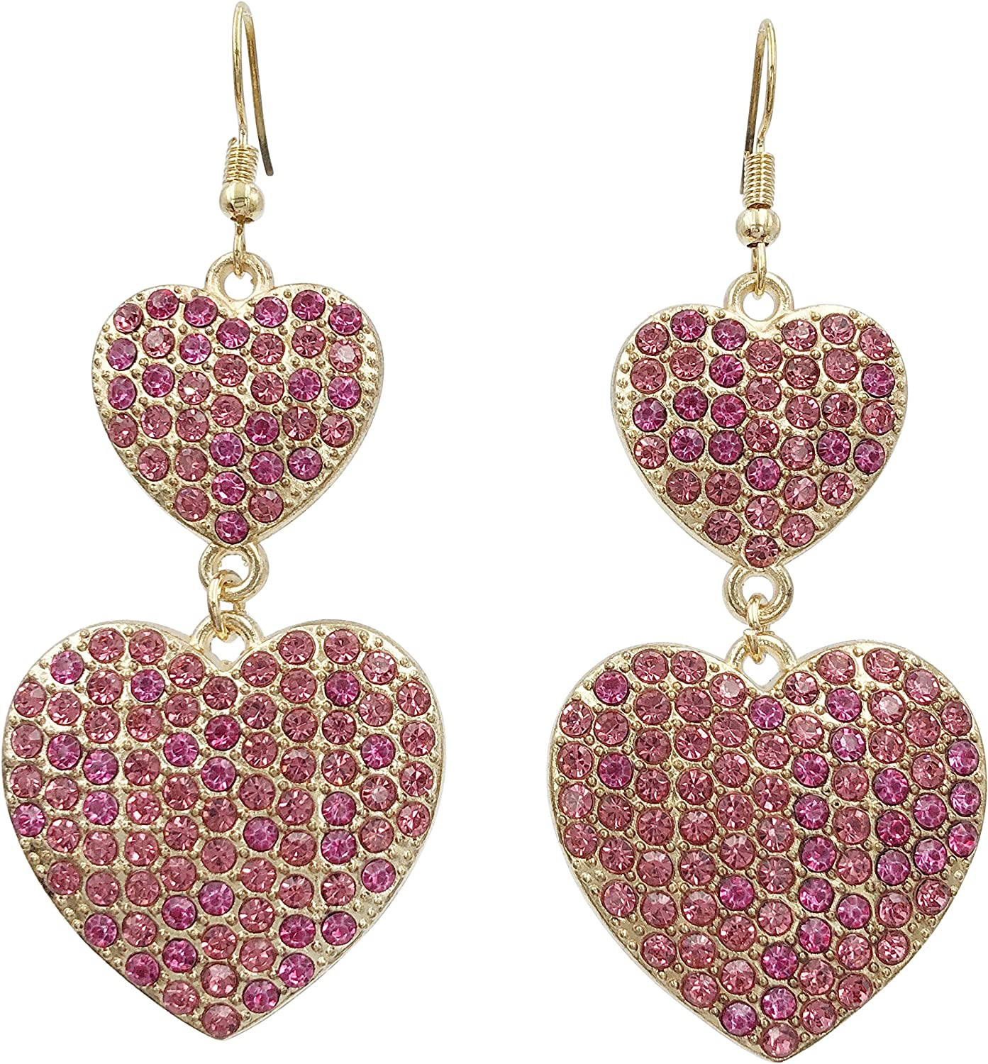 Long Double Heart Rhinestone Bling Simple Large Statement Big Drop Dangle Earrings - Assorted Colors
