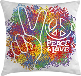 Ambesonne 70s Party Throw Pillow Cushion Cover, Hippie Peace and Love and Signs 2 Fingers Pacifist Colorful Design Art, Decorative Square Accent Pillow Case, 18