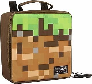 JINX Minecraft Dirt Block Insulated Kids School Lunch Box, Green/Brown, 8.5