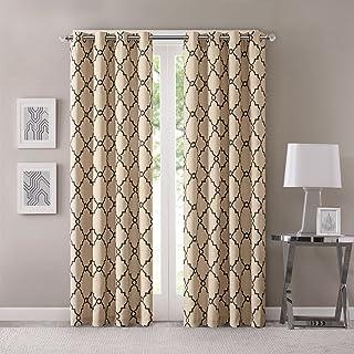 Madison Park Saratoga Window Curtain Light Filtering Fretwork Print 1 Panel Grommet Top Drapes/Valance for Living Room Bed...