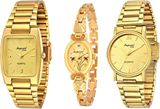 6e72aa8436a2c Imperial Club Combo Pack Of 3 Golden Analogue Watches For Men And Women  (Wcm-
