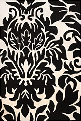 Herat Oriental Contemporary Indo Hand-Tufted Black/Ivory Wool Rug, 5' x 8'