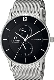 Obaku Men's Quartz Stainless Steel Dress Watch, Color:Silver-Toned (Model: V157GMCBMC)