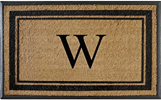 A1 Home Collections First Impression Markham Border Natural Rubber Double Door Extra Large Monogrammed Doormat-(29.5 X 4...