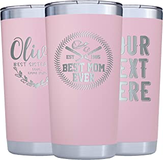 Personalized Tumblers w/Splash Proof Lid - 20oz - Vacuum Insulated Travel Coffee Mugs - Stainless Steel Double Wall Tumbler - Personalized Cups - Gifts for Her, Women, Mom, Sister w Name #T32