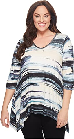 Plus Size Brushstroke 3/4 Sleeve Tee