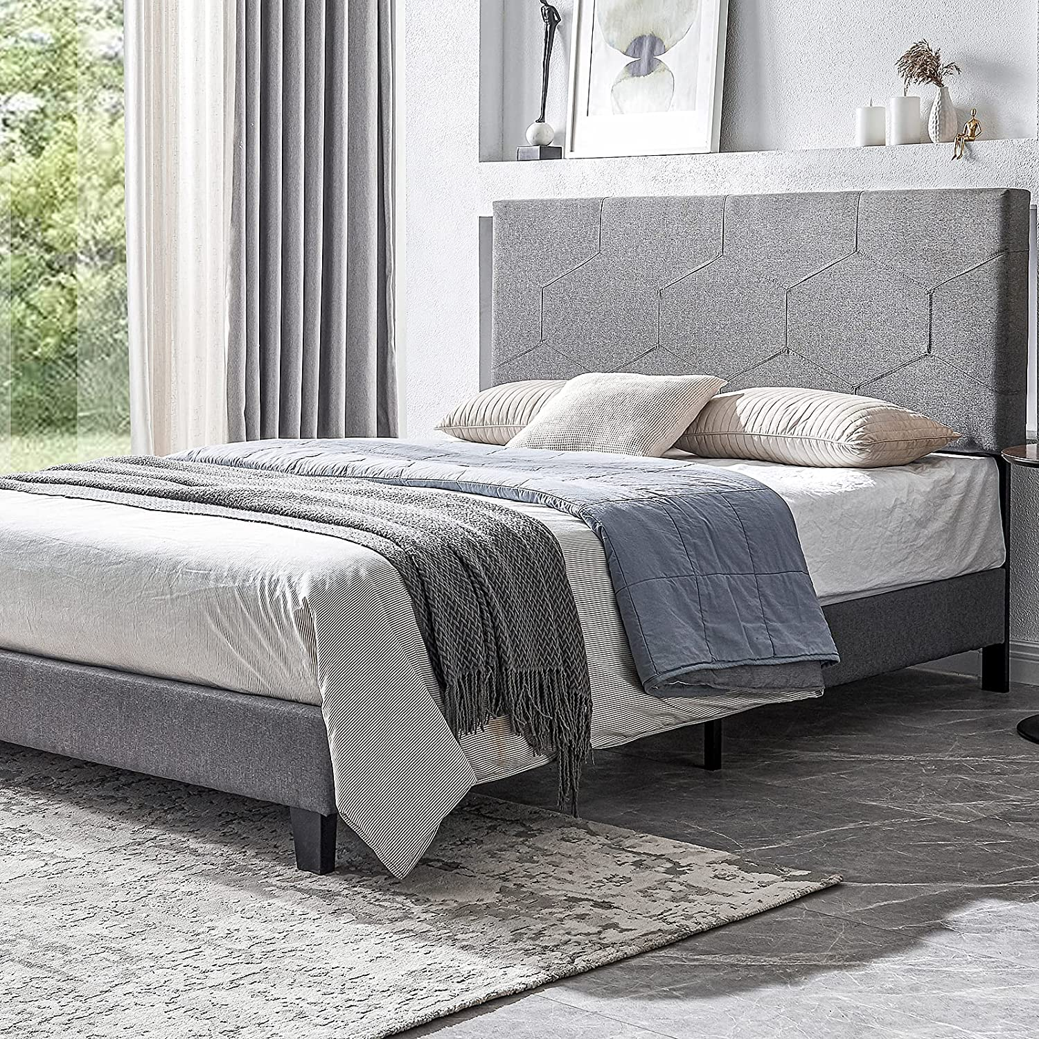 Smile Back Upholstered Queen Bed Size Style Frame 買い取り Favose 全国どこでも送料無料