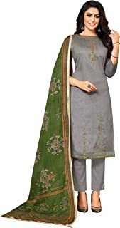 Monira Women's Jam Cotton Embroidered Semi-Stitched Salwar Suit Material