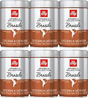illy Whole Bean Coffee - Arabica Selection - Brasile Medium Roast - Intense Taste with Caramel Notes | Case Pack of 6-8.8 Ounce Cans