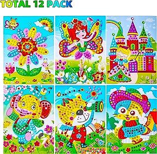 Sinceroduct Mosaic Stickers Art Kits for Kids 12 Pack DIY Handmade Art Crafts for Kids Shine Sparkle Mosaics- Elephant Flower Cat Dinosaur Car Castle Etc.